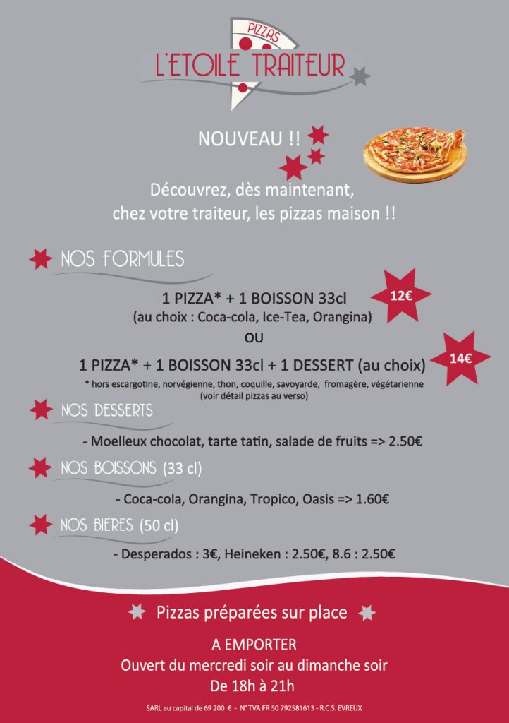 Carte pizzas - tarifs 2018 2019